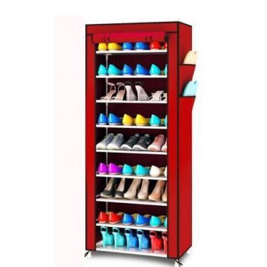 Складной тканевый шкаф для обуви (9 полок) SHOES SHELF T-1099 Органайзер в виде полочек с металлическим каркасом Красный