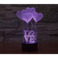 3D LED светильник-ночник LOVE ОРИГИНАЛЬНЫЙ  (7 цветов)