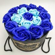 Подарочный набор роз из мыла в шляпной коробке Home Flowers Букет роз из мыла 14х19 см Синий