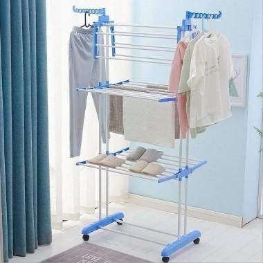 Раскладная сушилка для белья напольная 3 уровня Garment rack with wheels K12-120 Сушилка-трансформер Синий